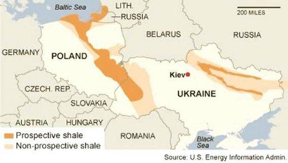Польша и Украина имеют второй и четвертый крупнейшие месторождения сланцевого газа в Европе