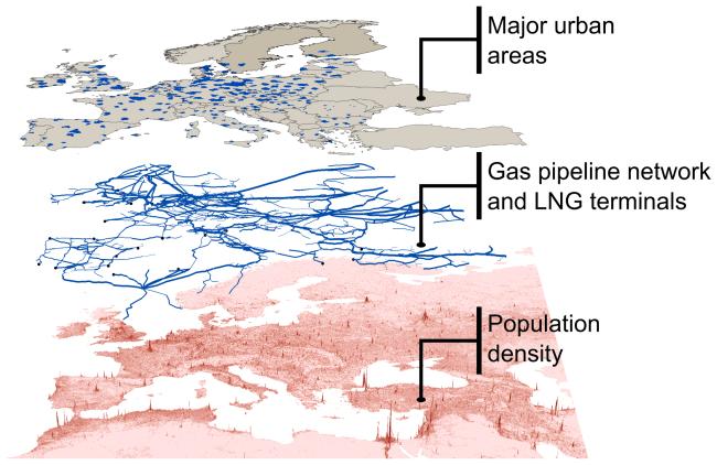 Схема газопроводов Европейского союза