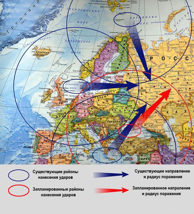 Территории России, находящиеся в зоне поражения американскими Томагавками