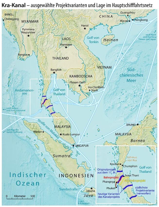 Проект вариантов судоходного канала через перешеек Кра из Южно-Китайского моря в Индийский океан