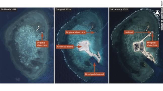 Cпутниковые снимки рассекретившие деятельность огромной китайской землечерпалки Тянь Цзин Хао, которая была зафиксирована спутником в конце 2013 – апреле 2014 годов в районе рифов Хьюза, Джонсон, Гавэн, Огненный крест