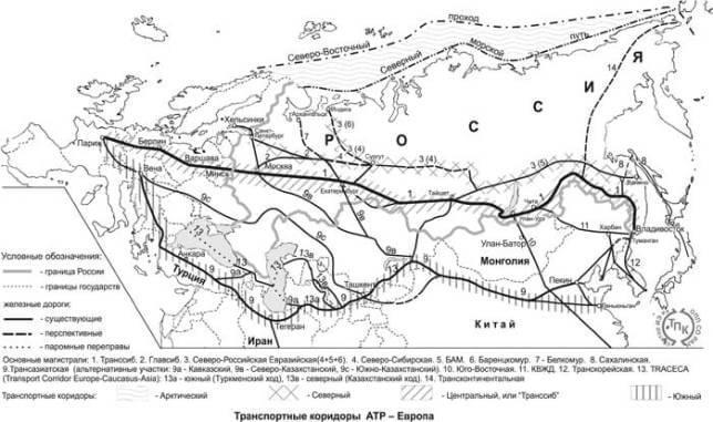 Транспортные коридоры  АТР - Европа