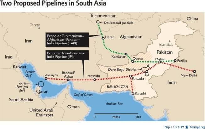Маршруты строительства газовых труб в азии