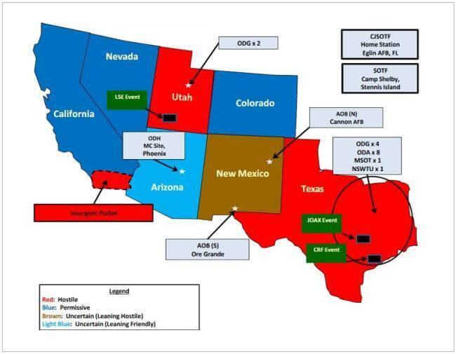 """Карта учений """"Нефритовый шлем"""" в США"""