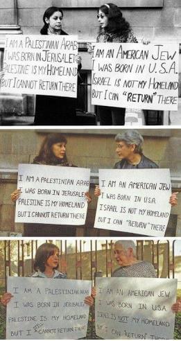 Гада Карми (Ghada Karmi) и Эллен Сигел (Ellen Siegel) – палестинка и еврейка на протяжении нескольких лет они множество раз выходили на улицу с этими плакатами