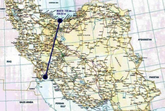 Маршрут судоходного канала Каспий – Персидский залив