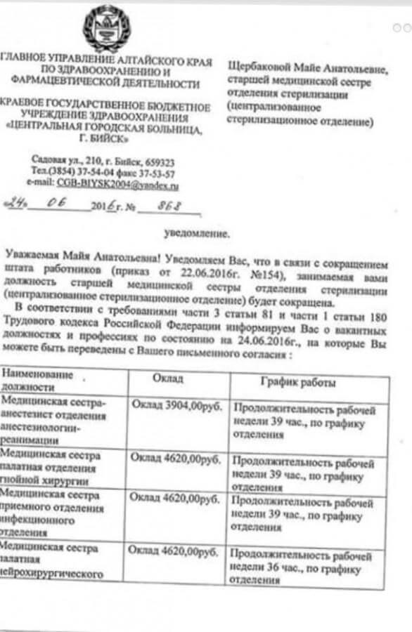 Уведомление о сокращении медицинского работника в России