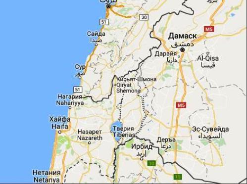 Карта района хребта Кармель близ Хайфы
