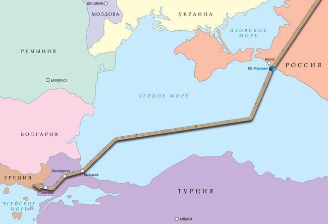 Маршрут прокладки «Турецкого потока»