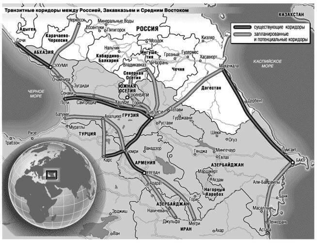 Транзитные коридоры между Россией и Закавказьем и Средним Востоком